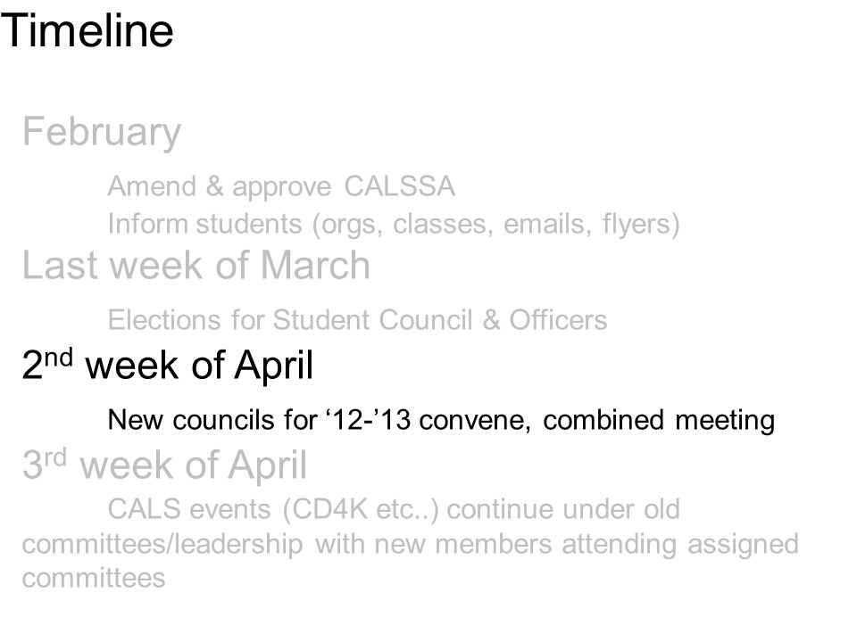 February Amend & approve CALSSA Inform students (orgs, classes, emails, flyers) Last week of March Elections for Student Council & Officers 2 nd week