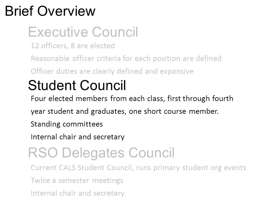 Executive Council 12 officers, 8 are elected Reasonable officer criteria for each position are defined Officer duties are clearly defined and expansive Four elected members from each class, first through fourth year student and graduates, one short course member.