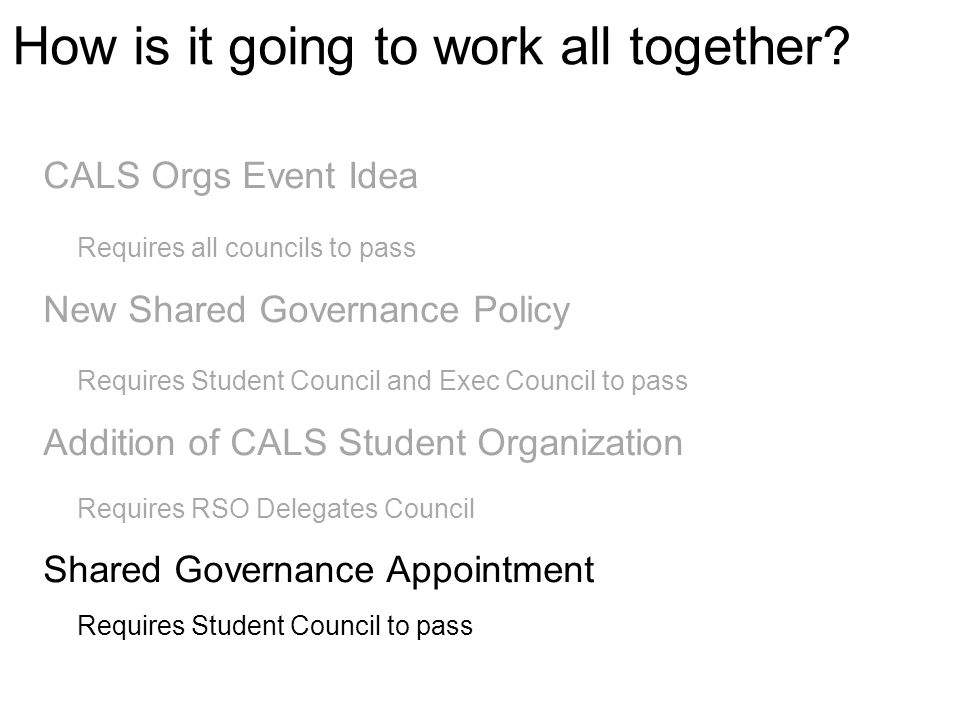 CALS Orgs Event Idea Requires all councils to pass New Shared Governance Policy Requires Student Council and Exec Council to pass Addition of CALS Stu