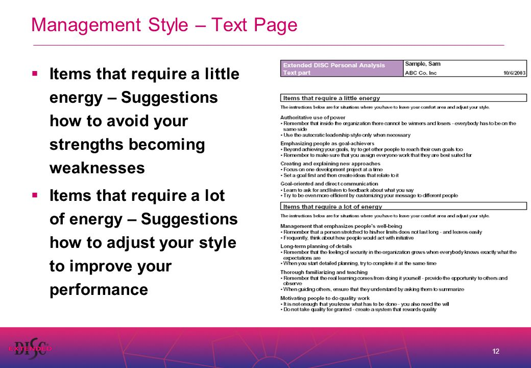 12 Management Style – Text Page  Items that require a little energy – Suggestions how to avoid your strengths becoming weaknesses  Items that require a lot of energy – Suggestions how to adjust your style to improve your performance