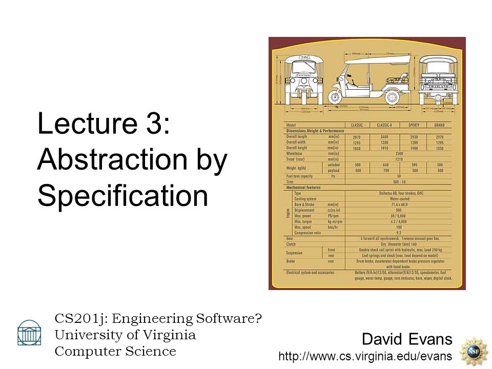 David Evans http://www.cs.virginia.edu/evans CS201j: Engineering Software? University of Virginia Computer Science Lecture 3: Abstraction by Specifica