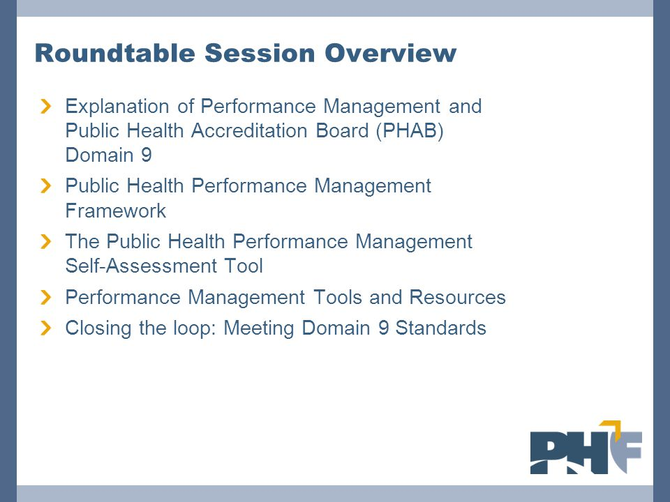 Roundtable Session Overview Explanation of Performance Management and Public Health Accreditation Board (PHAB) Domain 9 Public Health Performance Mana