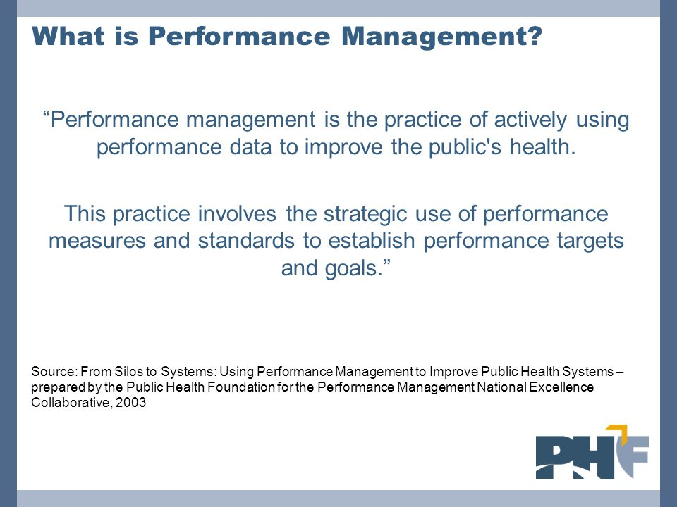 Performance Standards Resources Healthy People 2020 Resources Provides performance standards for health departments and other organizations National Public Health Performance Standards Program (NPHPS) Which has developed a set of standardized goals for state and local public health systems and boards of health.