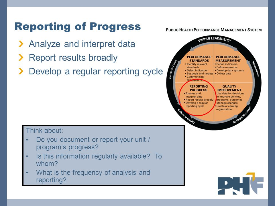 Analyze and interpret data Report results broadly Develop a regular reporting cycle Reporting of Progress Think about: Do you document or report your unit / program's progress.