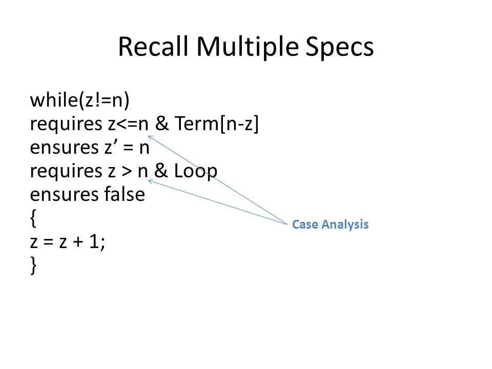 Case Structure Case Specification case { p1  requires R1 ensures Q1; p2  requires R2 ensures Q2; } Analogous to LEM – It can be applied during verification to support more comprehensive reasoning