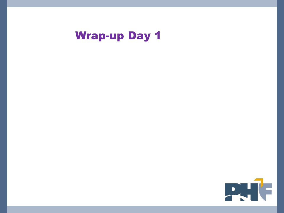 Wrap-up Day 1