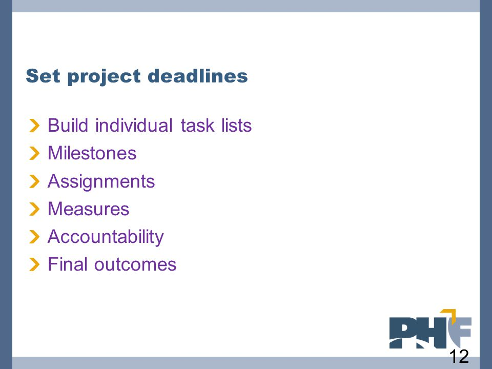 Build individual task lists Milestones Assignments Measures Accountability Final outcomes 127 Set project deadlines