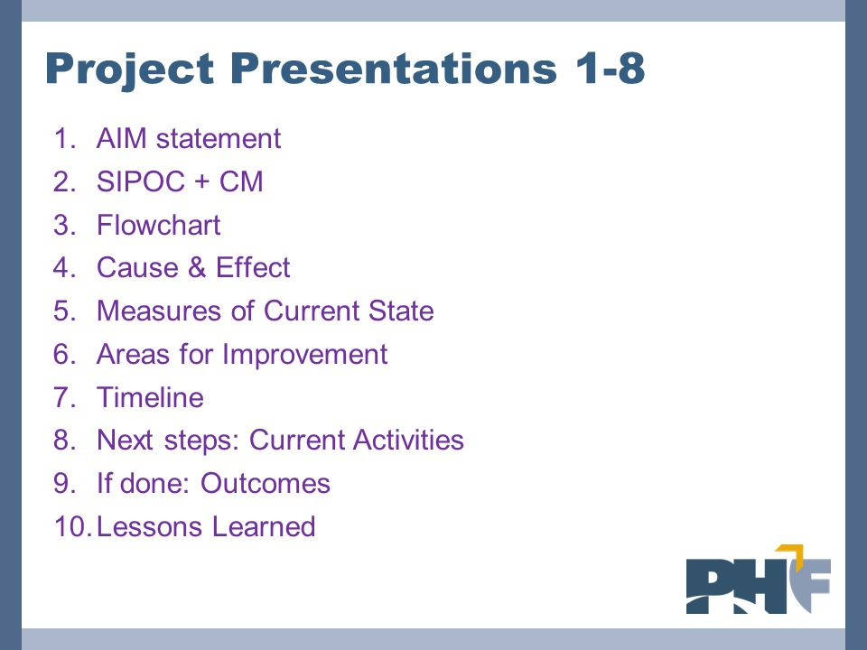 Project Presentations 1-8 1.AIM statement 2.SIPOC + CM 3.Flowchart 4.Cause & Effect 5.Measures of Current State 6.Areas for Improvement 7.Timeline 8.Next steps: Current Activities 9.If done: Outcomes 10.Lessons Learned