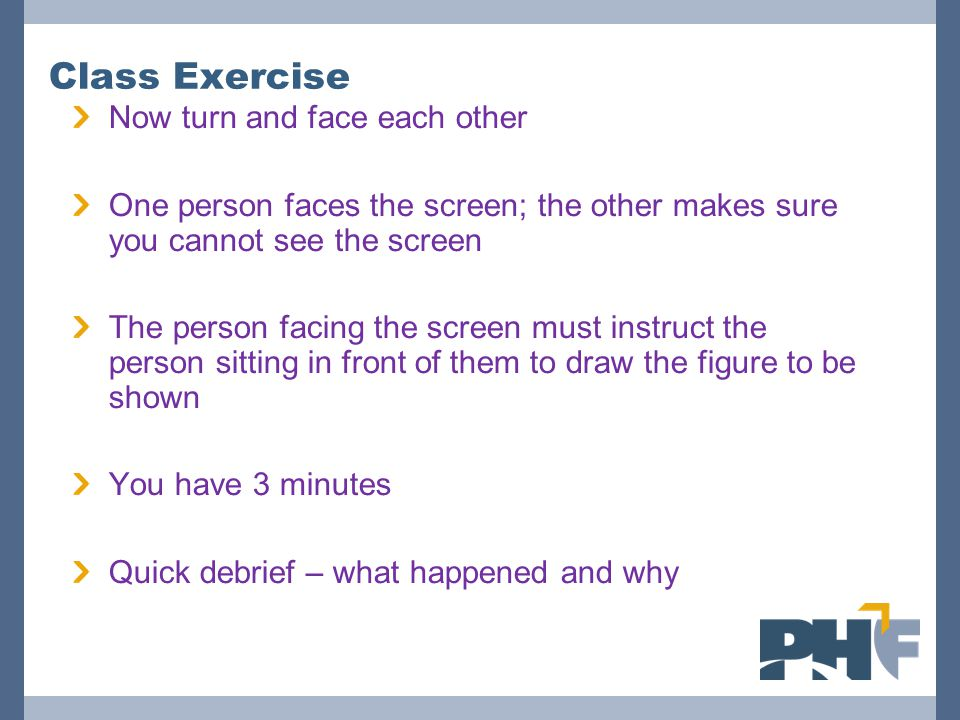 Now turn and face each other One person faces the screen; the other makes sure you cannot see the screen The person facing the screen must instruct the person sitting in front of them to draw the figure to be shown You have 3 minutes Quick debrief – what happened and why