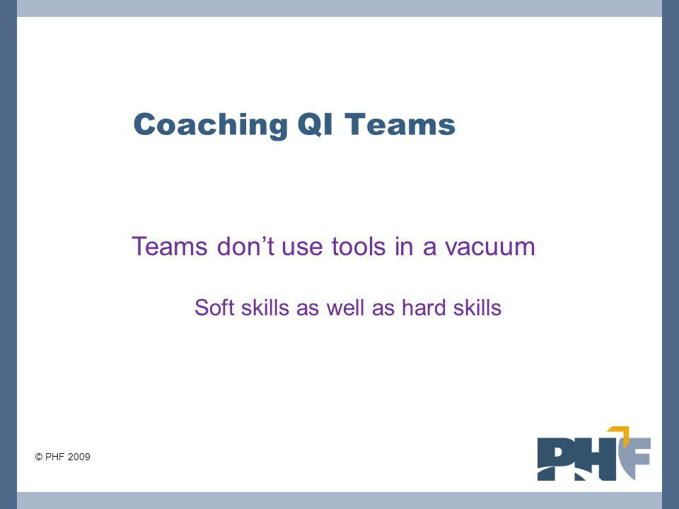 Coaching QI Teams Teams don't use tools in a vacuum Soft skills as well as hard skills © PHF 2009
