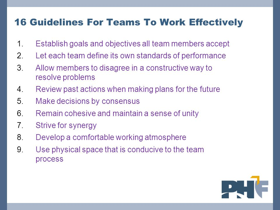 16 Guidelines For Teams To Work Effectively 1.Establish goals and objectives all team members accept 2.Let each team define its own standards of performance 3.Allow members to disagree in a constructive way to resolve problems 4.Review past actions when making plans for the future 5.Make decisions by consensus 6.Remain cohesive and maintain a sense of unity 7.Strive for synergy 8.Develop a comfortable working atmosphere 9.Use physical space that is conducive to the team process