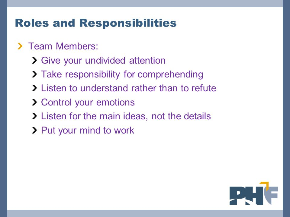 Roles and Responsibilities Team Members: Give your undivided attention Take responsibility for comprehending Listen to understand rather than to refute Control your emotions Listen for the main ideas, not the details Put your mind to work