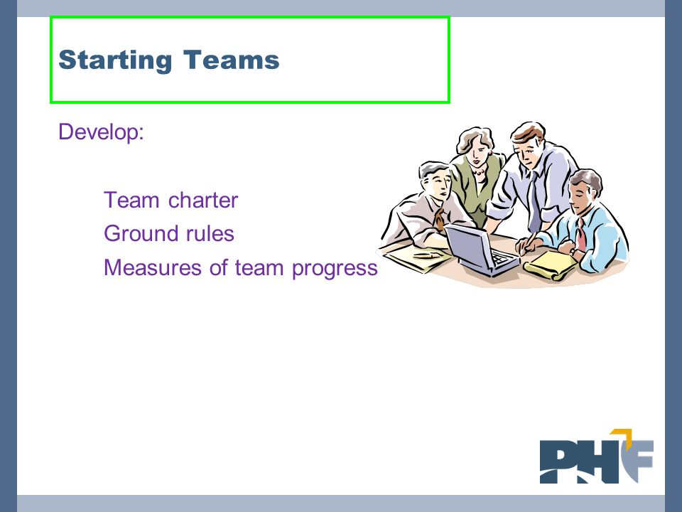 Starting Teams Develop: 1.Team charter 2.Ground rules 3.Measures of team progress
