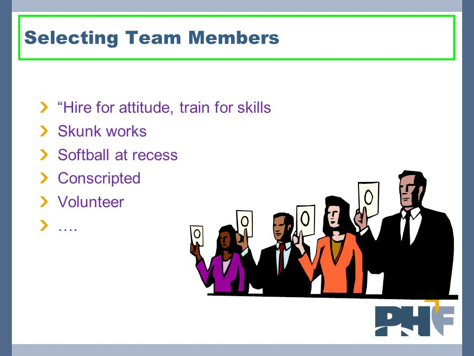 Selecting Team Members Hire for attitude, train for skills Skunk works Softball at recess Conscripted Volunteer ….