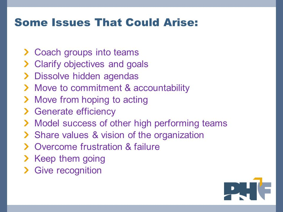 Some Issues That Could Arise: Coach groups into teams Clarify objectives and goals Dissolve hidden agendas Move to commitment & accountability Move from hoping to acting Generate efficiency Model success of other high performing teams Share values & vision of the organization Overcome frustration & failure Keep them going Give recognition