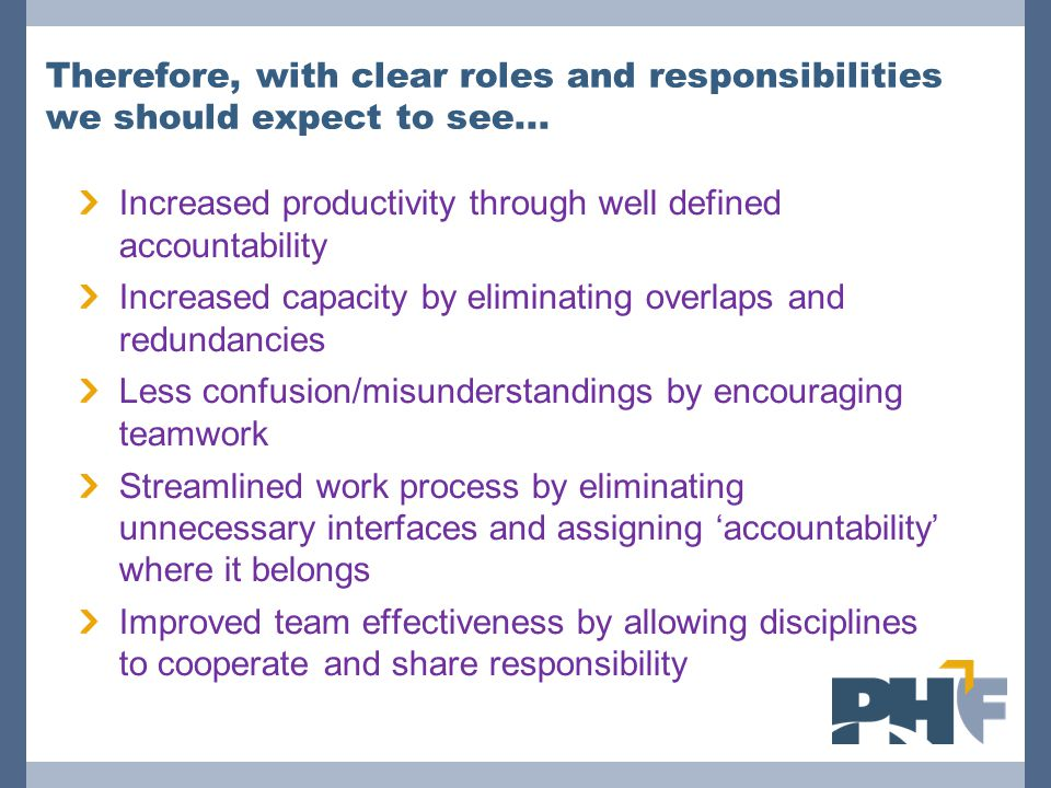 Therefore, with clear roles and responsibilities we should expect to see...