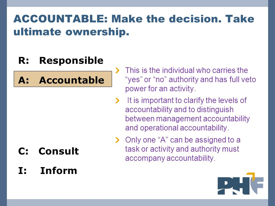 R: Responsible A: Accountable C: Consult I: Inform ACCOUNTABLE: Make the decision.