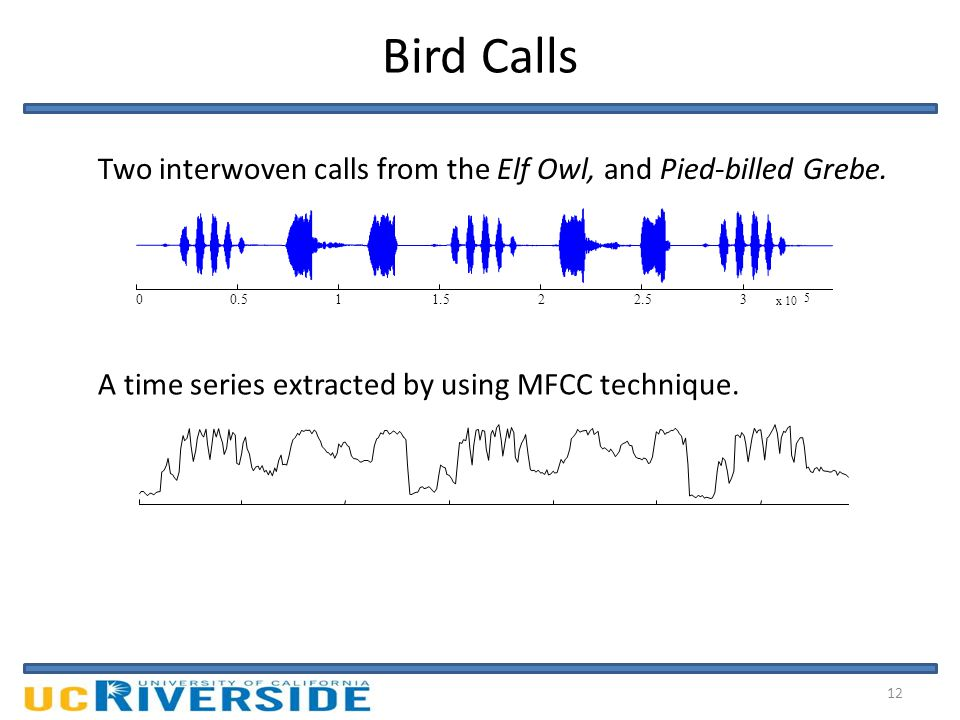 Bird Calls 0.511.522.53 x 10 5 0 Two interwoven calls from the Elf Owl, and Pied-billed Grebe.