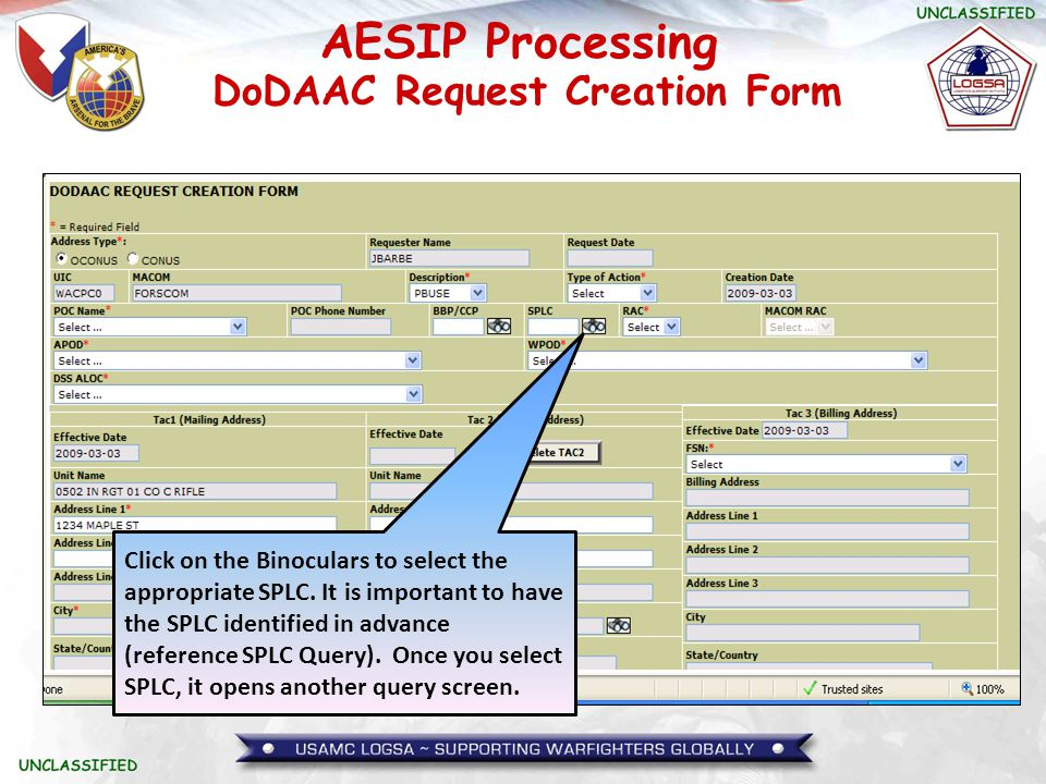 AESIP Processing Click on the Binoculars to select the appropriate SPLC. It is important to have the SPLC identified in advance (reference SPLC Query)