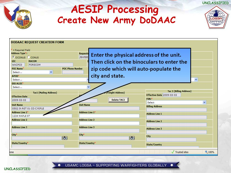AESIP Processing Enter the physical address of the unit. Then click on the binoculars to enter the zip code which will auto-populate the city and stat