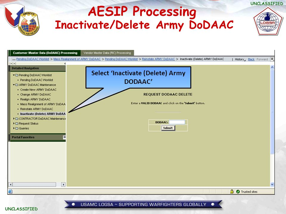 AESIP Processing Select 'Inactivate (Delete) Army DODAAC' Inactivate/Delete Army DoDAAC