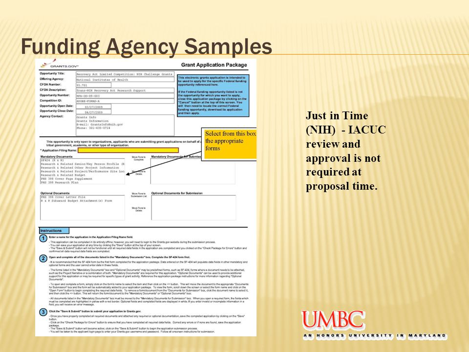 Funding Agency Samples Just in Time (NIH) - IACUC review and approval is not required at proposal time.