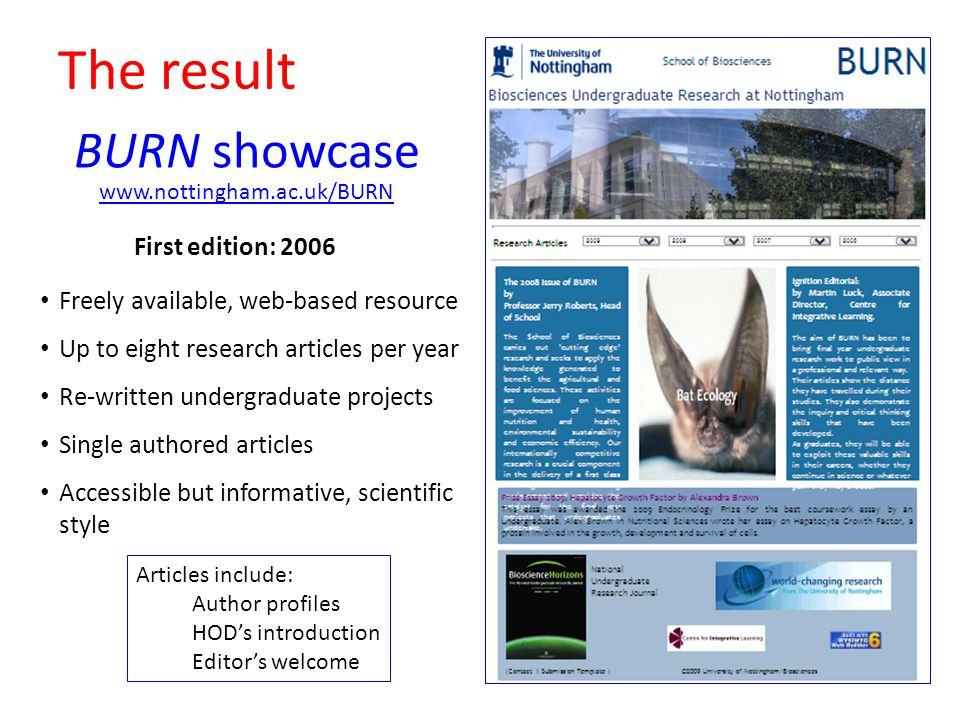 The result First edition: BURN showcase Freely available, web-based resource Up to eight research articles per year Re-written undergraduate projects Single authored articles Accessible but informative, scientific style Articles include: Author profiles HOD's introduction Editor's welcome