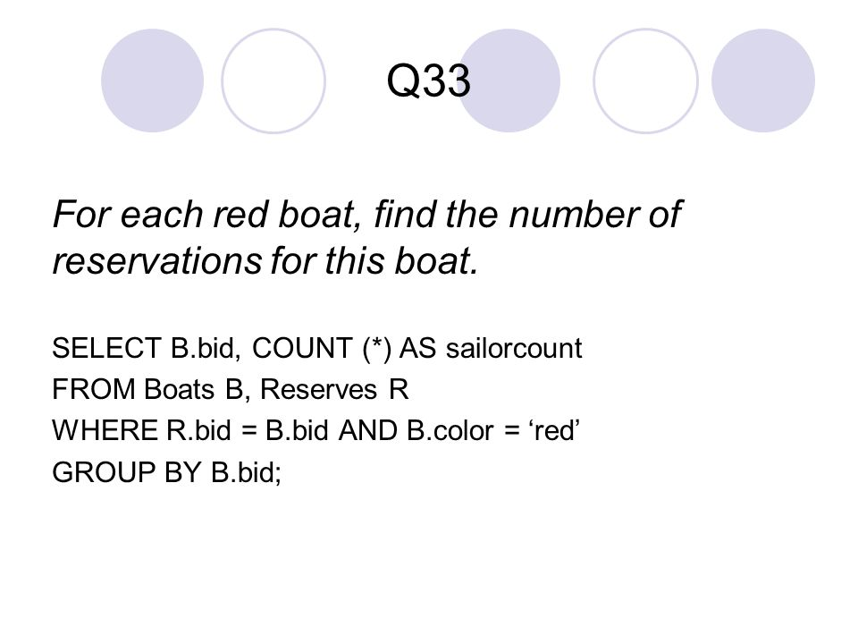 Q33 For each red boat, find the number of reservations for this boat.