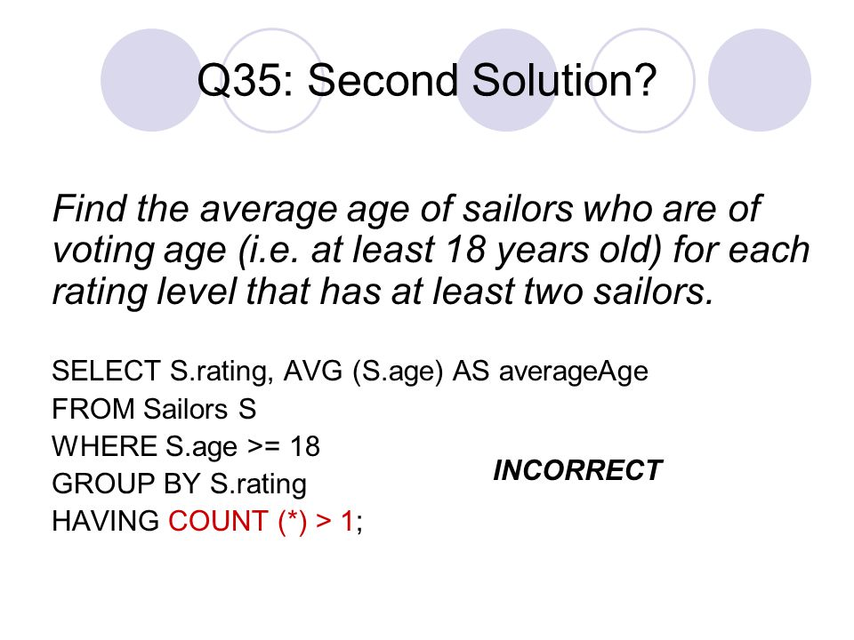 Q35: Second Solution? Find the average age of sailors who are of voting age (i.e. at least 18 years old) for each rating level that has at least two s