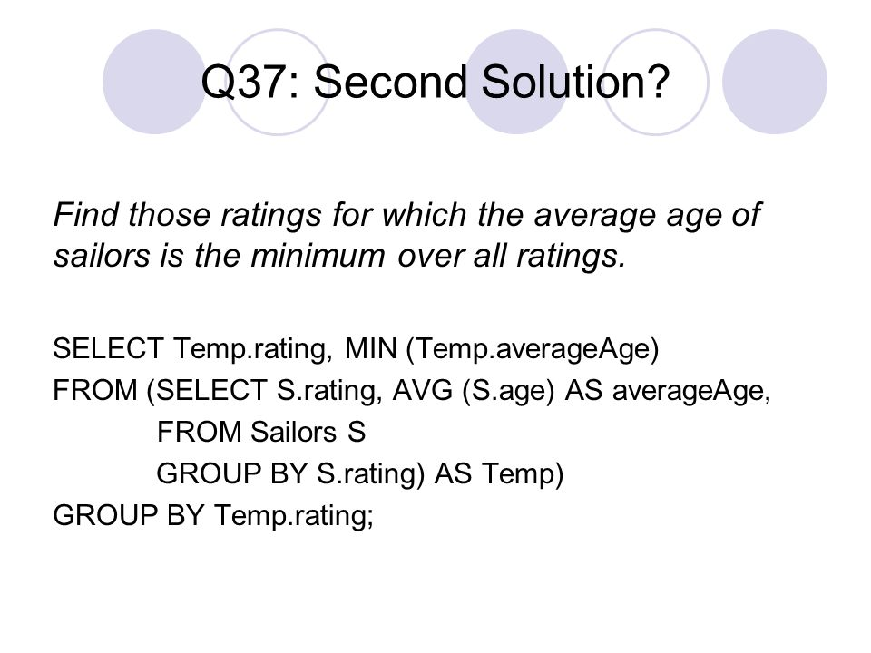 Q37: Second Solution? Find those ratings for which the average age of sailors is the minimum over all ratings. SELECT Temp.rating, MIN (Temp.averageAg