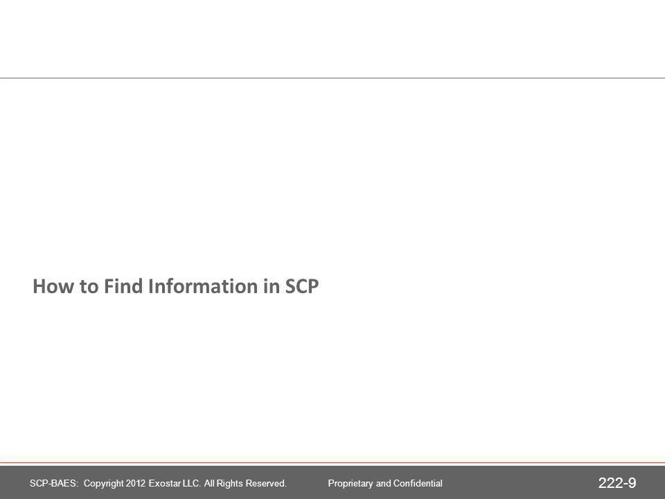 How to Find Information in SCP SCP-BAES: Copyright 2012 Exostar LLC.