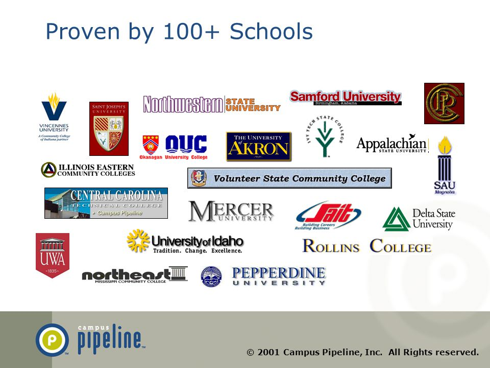 © 2001 Campus Pipeline, Inc. All Rights reserved. Proven by 100+ Schools