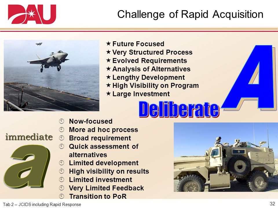 Tab 2 – JCIDS including Rapid Response Challenge of Rapid Acquisition 32  Future Focused  Very Structured Process  Evolved Requirements  Analysis