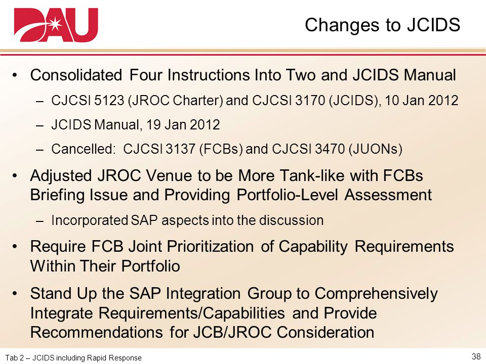 Tab 2 – JCIDS including Rapid Response Changes to JCIDS 38 Consolidated Four Instructions Into Two and JCIDS Manual –CJCSI 5123 (JROC Charter) and CJC