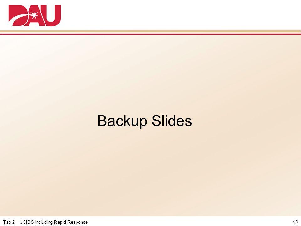 Tab 2 – JCIDS including Rapid Response 42 Backup Slides