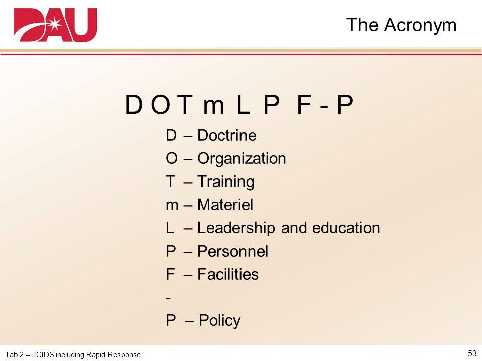 Tab 2 – JCIDS including Rapid Response The Acronym 53 D – Doctrine O – Organization T – Training m – Materiel L – Leadership and education P – Personn
