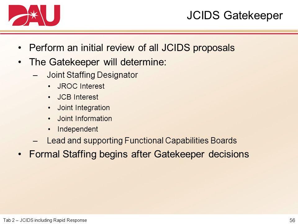 Tab 2 – JCIDS including Rapid Response JCIDS Gatekeeper Perform an initial review of all JCIDS proposals The Gatekeeper will determine: – Joint Staffi