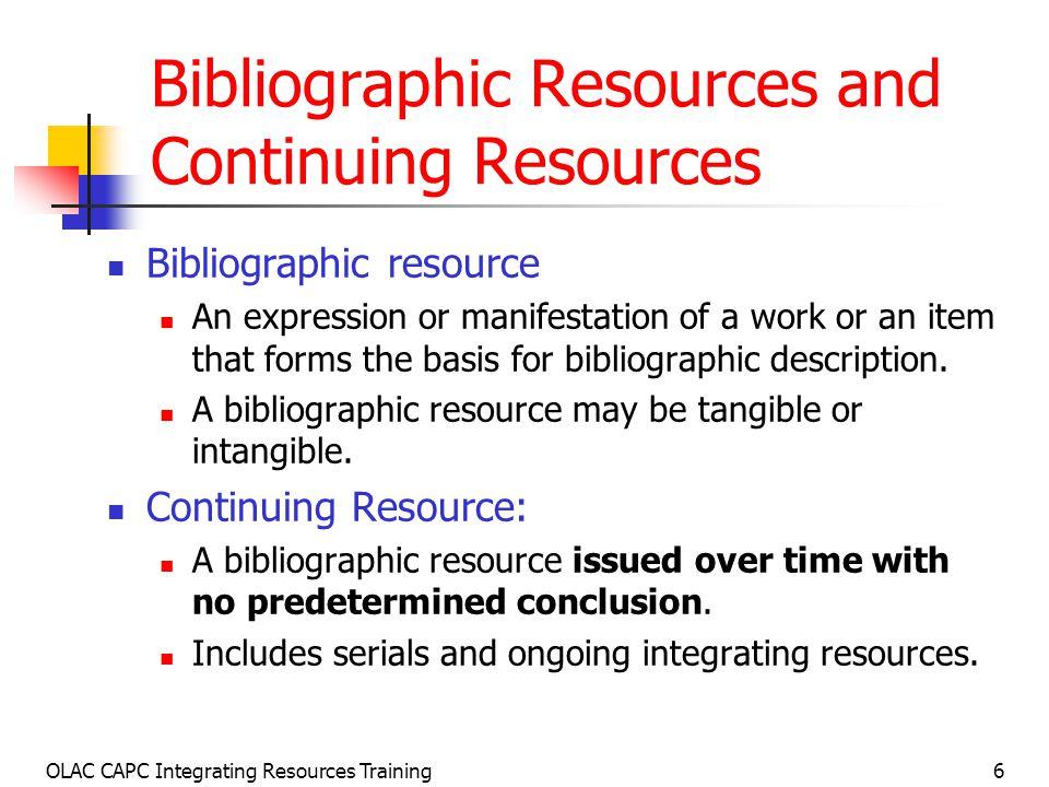 OLAC CAPC Integrating Resources Training97 Review: Bib.