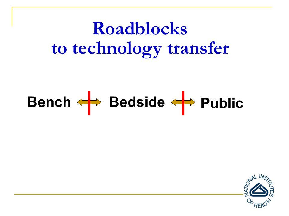BenchBedside Public Roadblocks to technology transfer