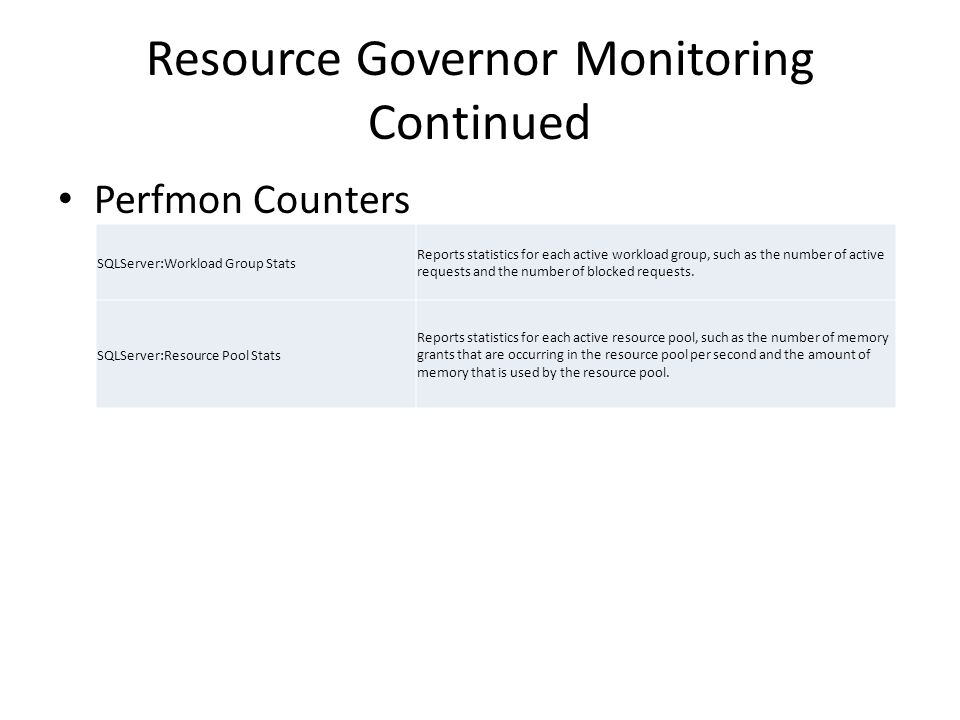 Resource Governor Monitoring Continued Perfmon Counters SQLServer:Workload Group Stats Reports statistics for each active workload group, such as the