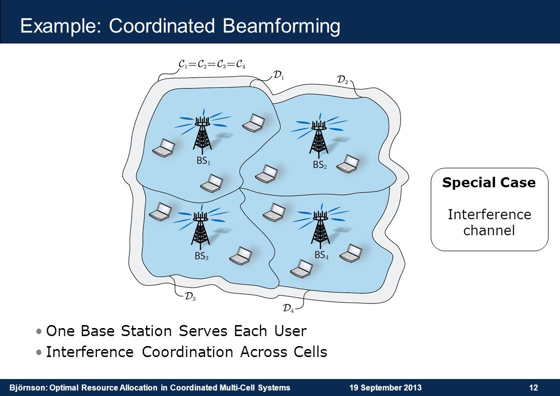 Björnson: Optimal Resource Allocation in Coordinated Multi-Cell Systems19 September 201312 Example: Coordinated Beamforming One Base Station Serves Ea