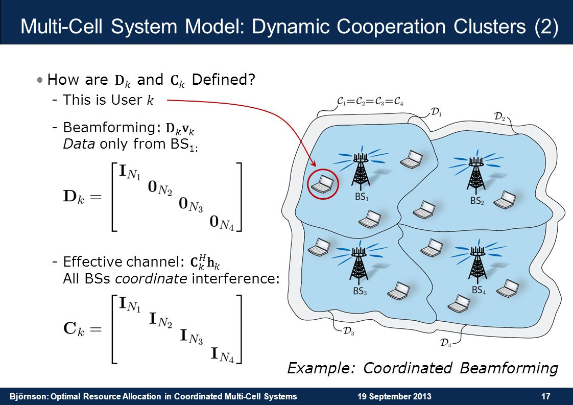 Björnson: Optimal Resource Allocation in Coordinated Multi-Cell Systems19 September 201317 Multi-Cell System Model: Dynamic Cooperation Clusters (2) E