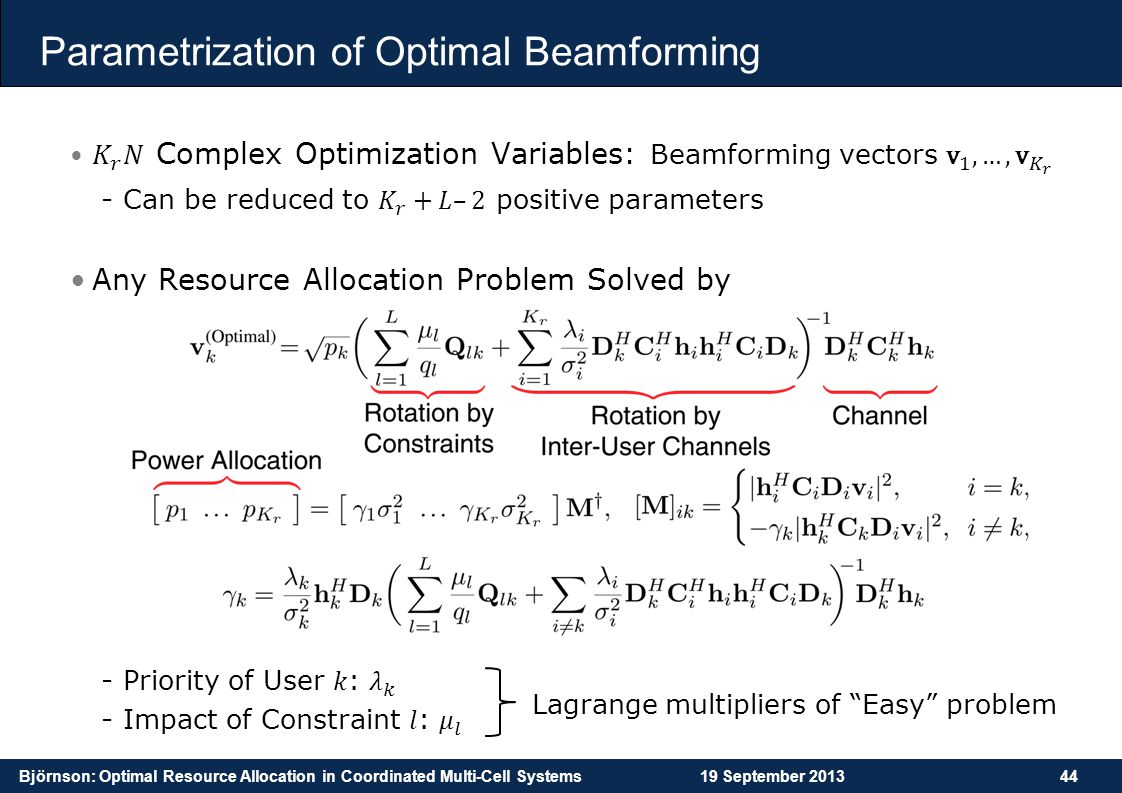 Björnson: Optimal Resource Allocation in Coordinated Multi-Cell Systems19 September 201344 Parametrization of Optimal Beamforming Lagrange multipliers