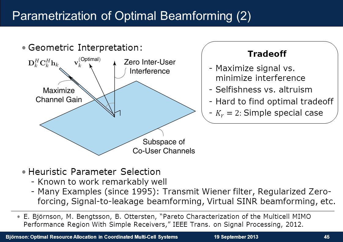 Björnson: Optimal Resource Allocation in Coordinated Multi-Cell Systems19 September 201345 Parametrization of Optimal Beamforming (2) Geometric Interp