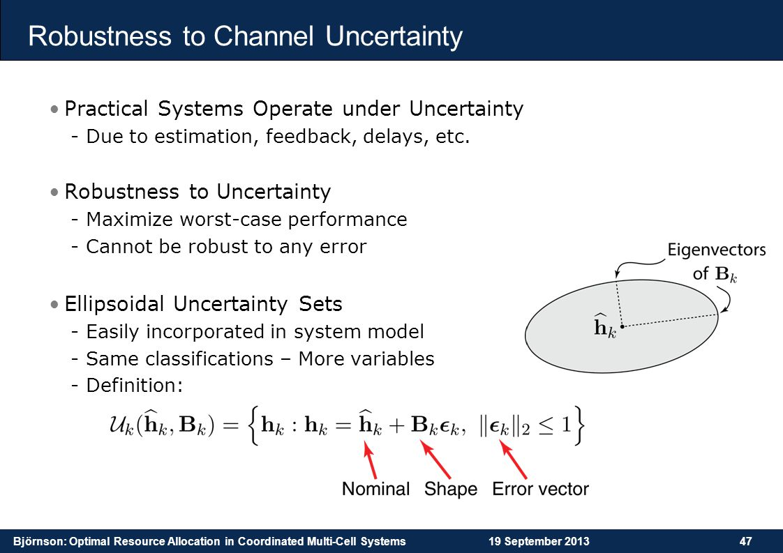 Björnson: Optimal Resource Allocation in Coordinated Multi-Cell Systems19 September 201347 Robustness to Channel Uncertainty Practical Systems Operate