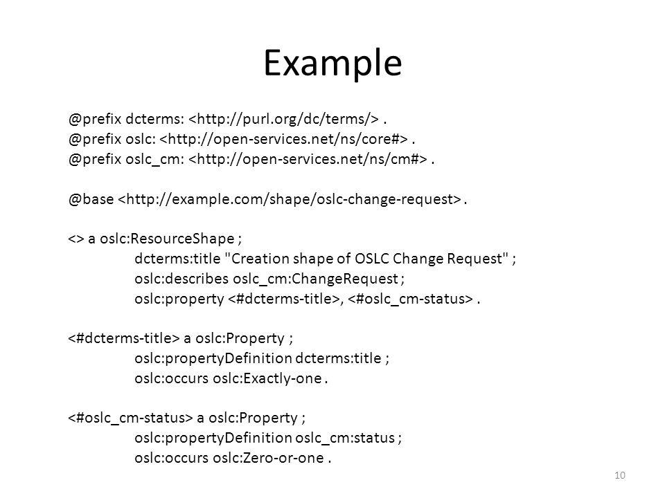 Example @prefix dcterms:. @prefix oslc:. @prefix oslc_cm:. @base. <> a oslc:ResourceShape ; dcterms:title