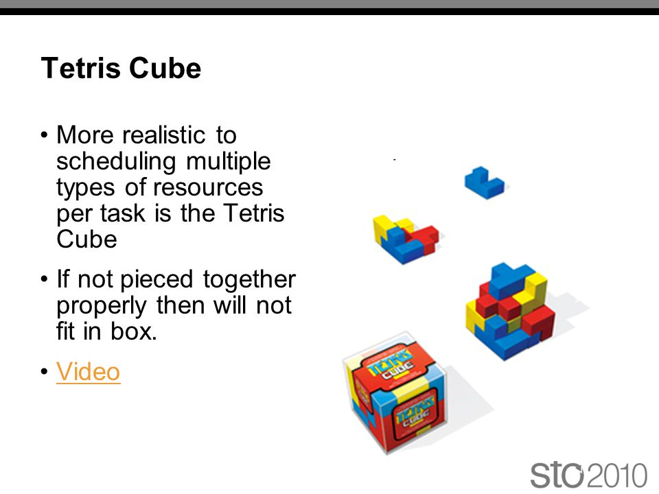 Tetris Cube More realistic to scheduling multiple types of resources per task is the Tetris Cube If not pieced together properly then will not fit in box.