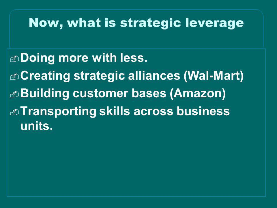 © 2003 Simchi-Levi, Kaminsky, Simchi-Levi Now, what is strategic leverage  Doing more with less.  Creating strategic alliances (Wal-Mart)  Building