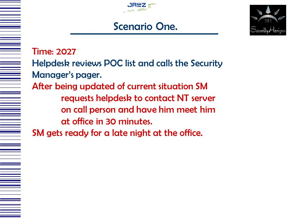 Time: 2027 Helpdesk reviews POC list and calls the Security Manager's pager.