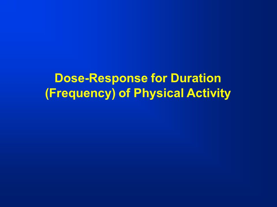Dose-Response for Duration (Frequency) of Physical Activity